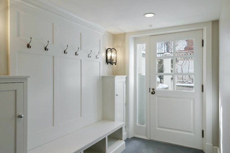 Image of: white mudroom bench
