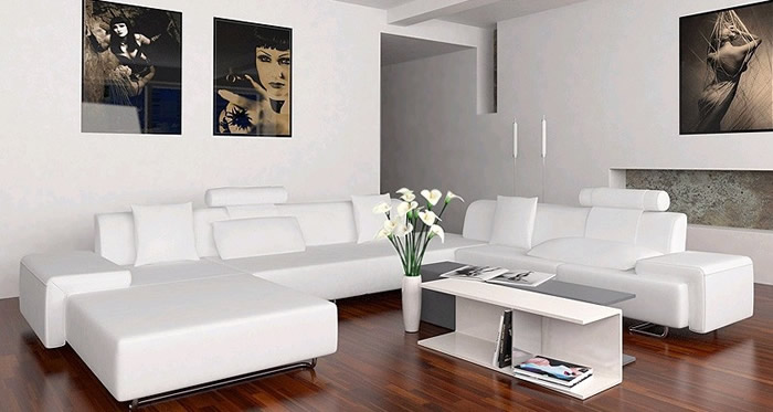 Image of: white sectional sofa modern