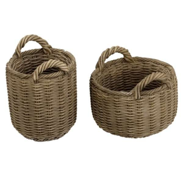 Image of: wicker baskets with handles