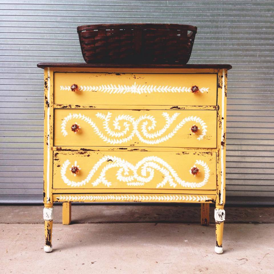 Yellow Distressed Dresser
