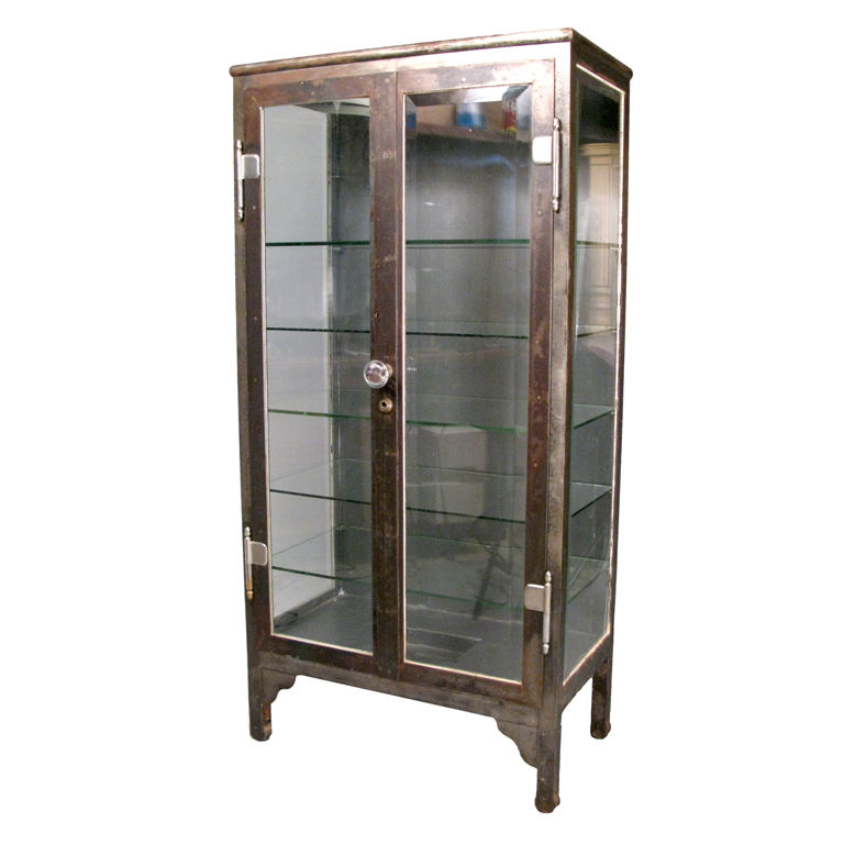Image of: Antique Steel & Glass apothecary cabinet