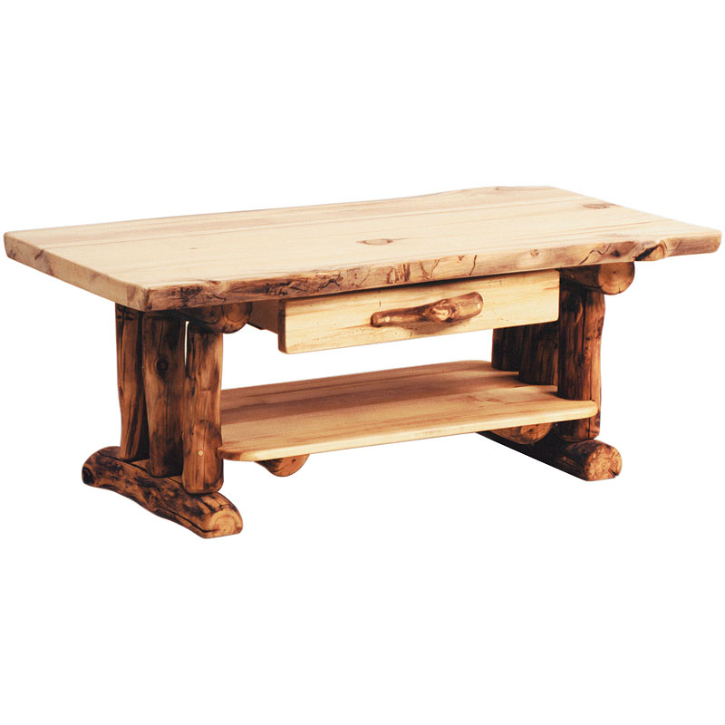 Image of: Aspen Log Rustic Coffee Table