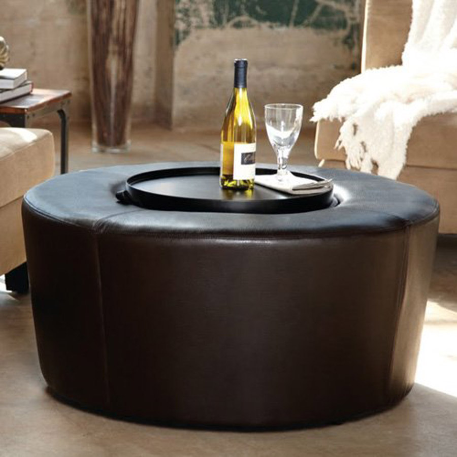 Picture of: Black round ottoman coffee table