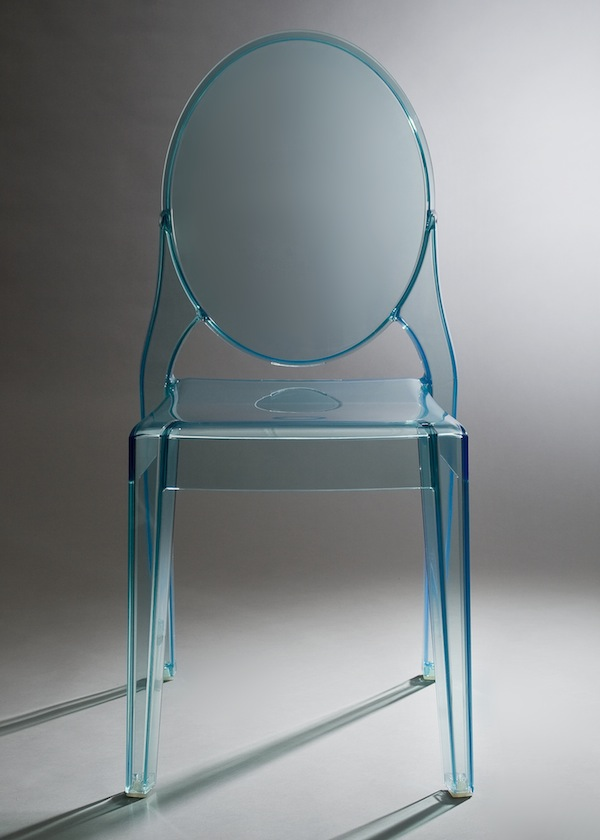 Picture of: Blue lucite chairs