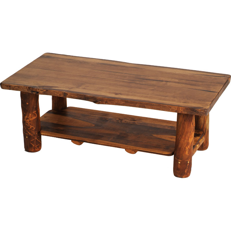 Image of: Bronze Aspen Rustic Log Coffee Table