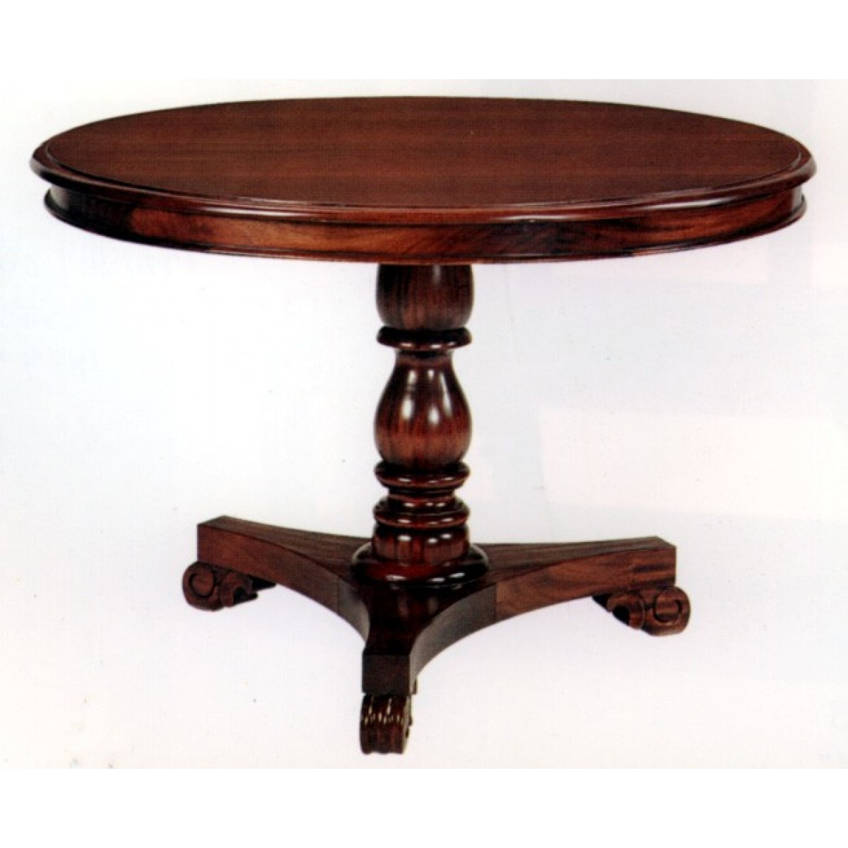 Picture of: Brown Round Pedestal Dining Table