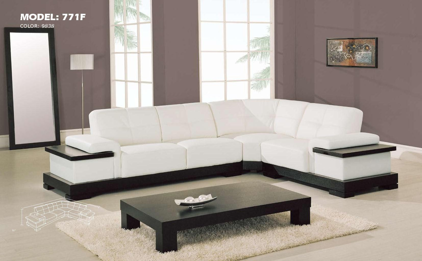 Image of: Contemporary White Leather 3Pc Sectional Sofa