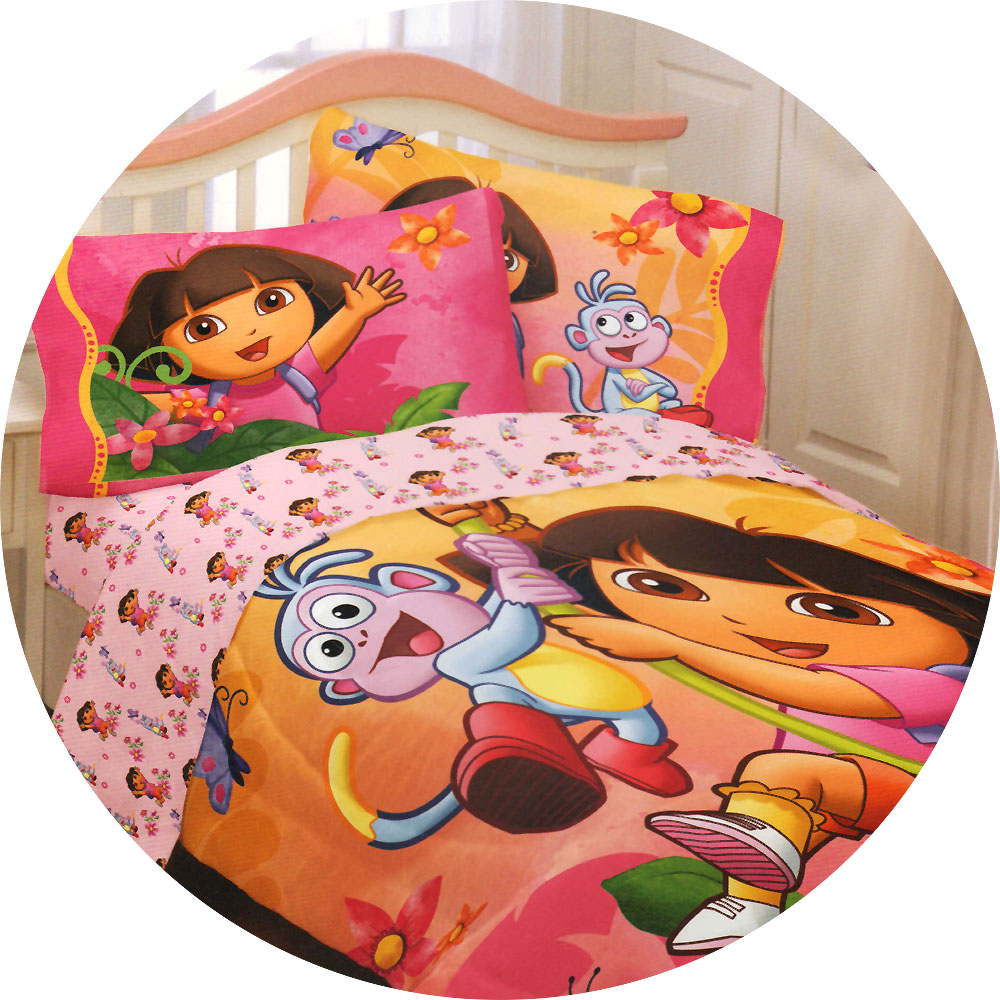 Image of: Dora Toddler Bed Sheet Set