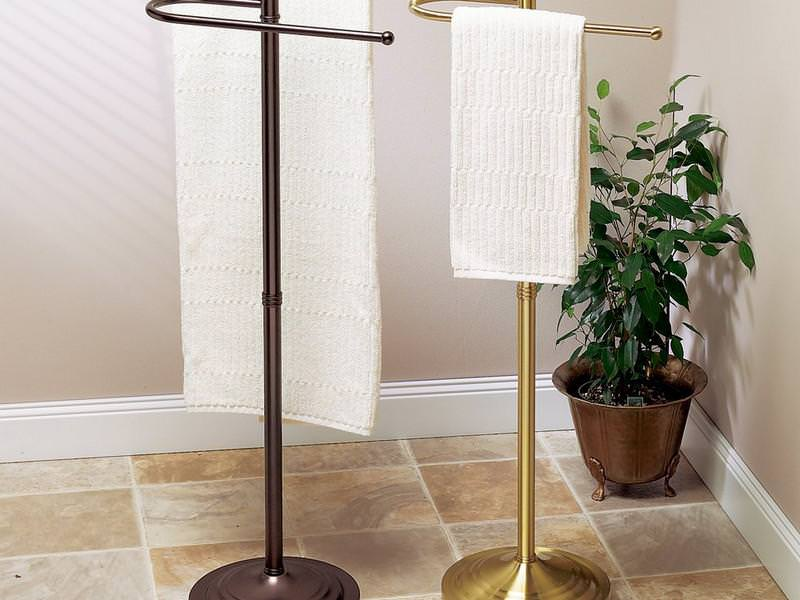 Image of: Free Standing Towel Rack Brushed Nickel
