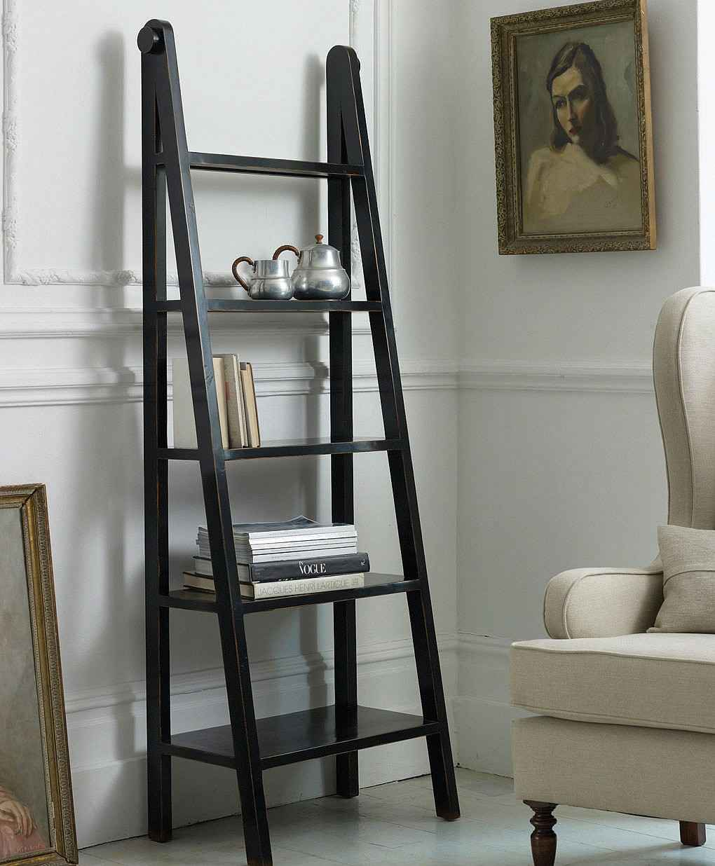 Image of: Ladder bookshelf black