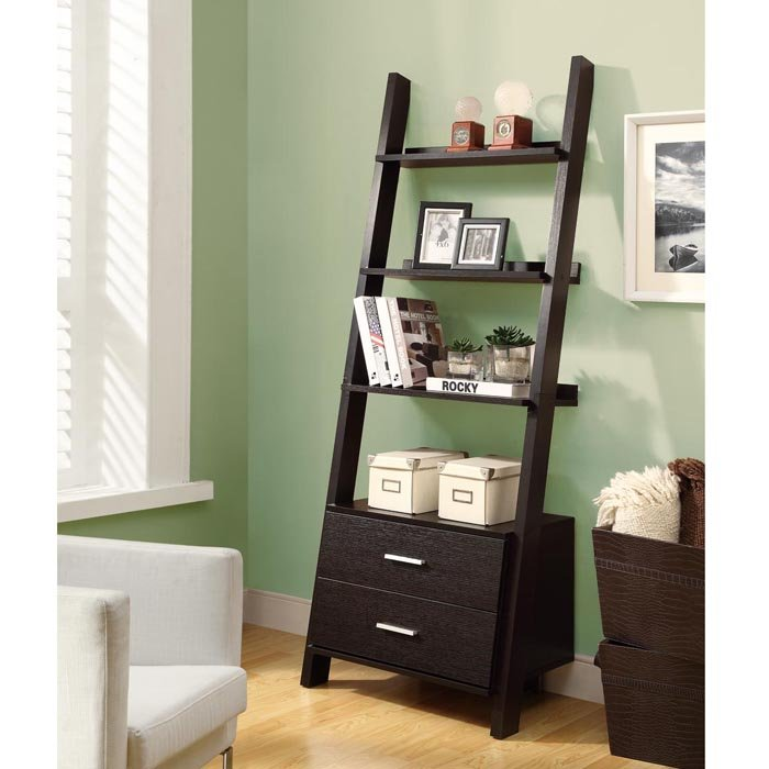 Image of: Ladder bookshelf with storage