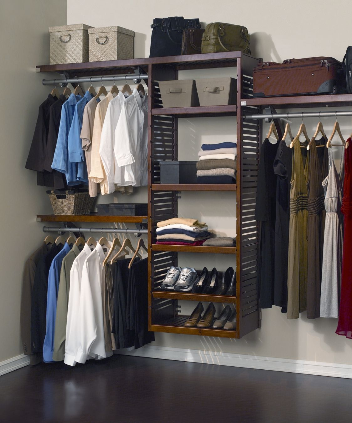 Image of: Luxury wood closet organizers