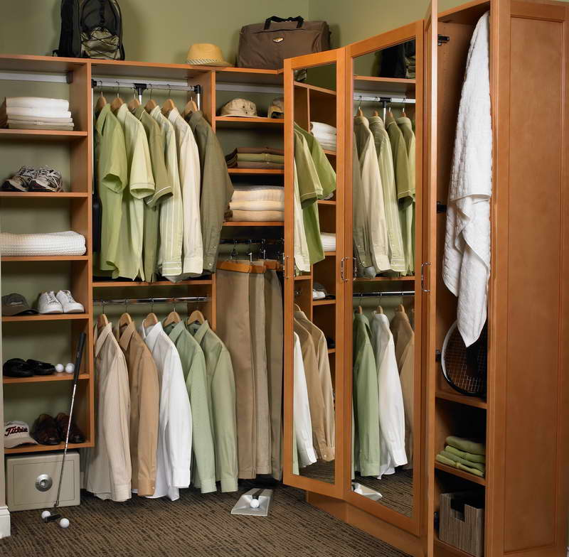 Image of: Modern wood closet organizers