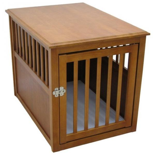 Image of: Oak Dog Crate End Table
