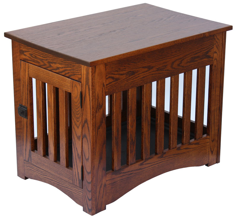 Image of: Oak Wooden Dog Crate End Table