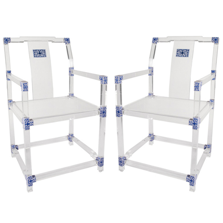 Picture of: Pair of blue and white lucite chairs