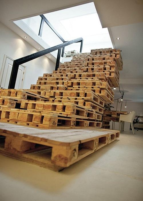 Image of: Pallet furniture ideas stairs
