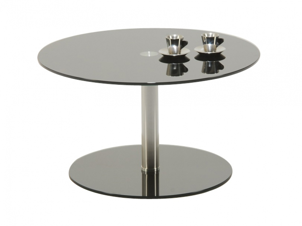 Image of: Polar Round Black Glass & Chrome Coffee Table