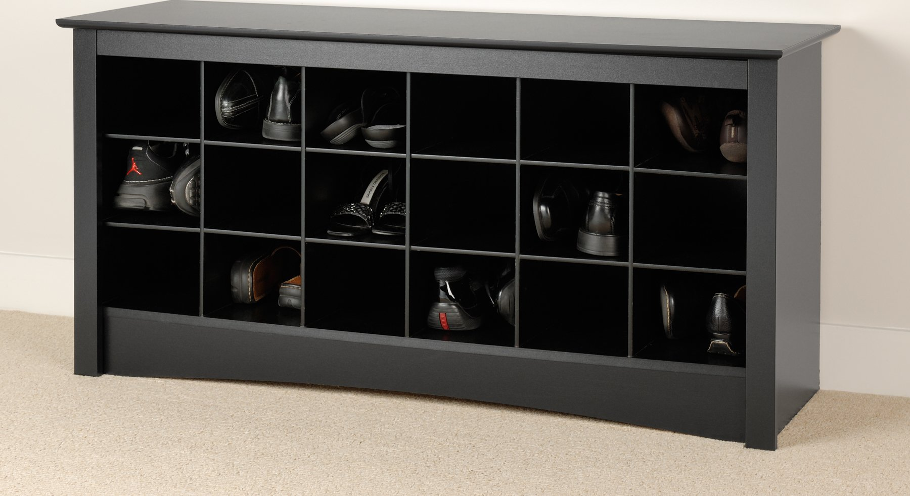 Picture of: Prepac Black Shoe Storage Cubbie Bench