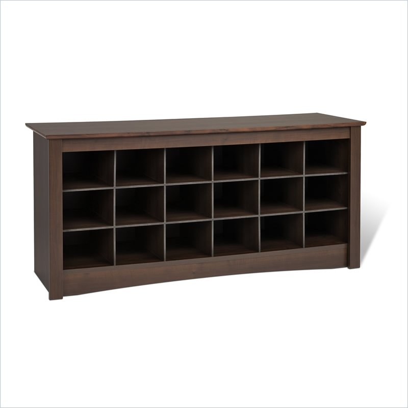 Picture of: Prepac Espresso Storage Cubbie Bench Shoe Rack