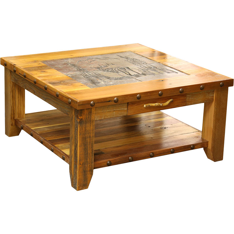 Image of: Rocky Mountain Elk Rustic Barnwood Coffee Table
