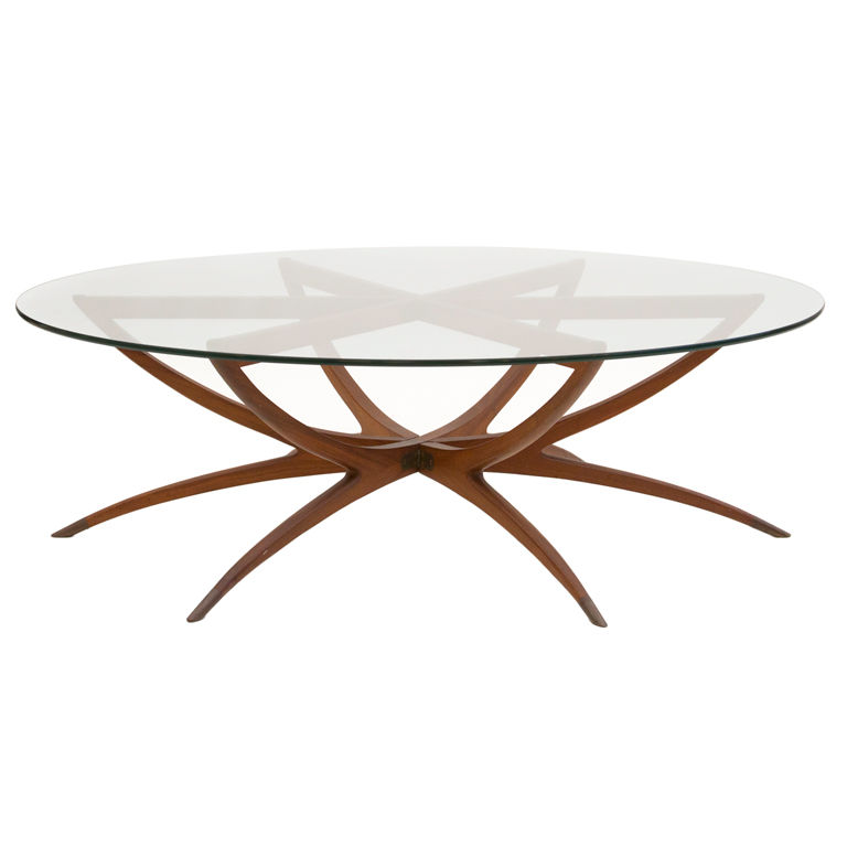 Round Spider Leg Coffee Table With Glass Top