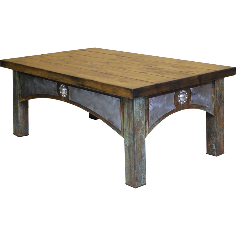 Image of: Rustic Ranch Steel & Timber Coffee Table