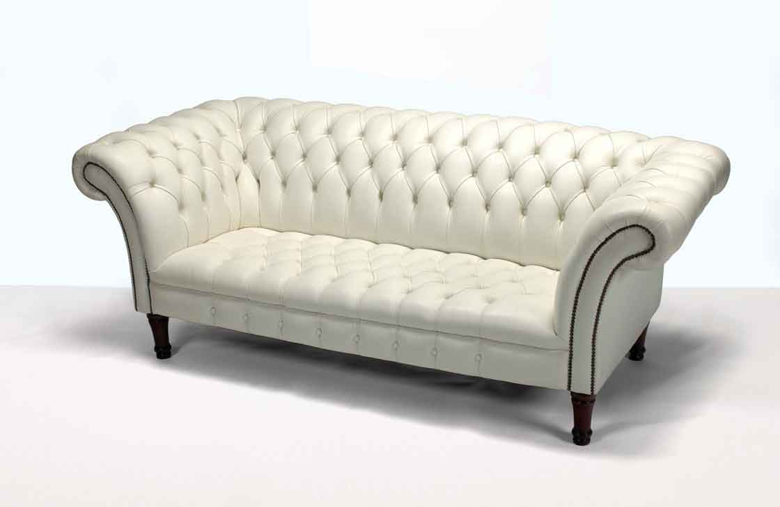 Image of: White Leather Chesterfield Sofas