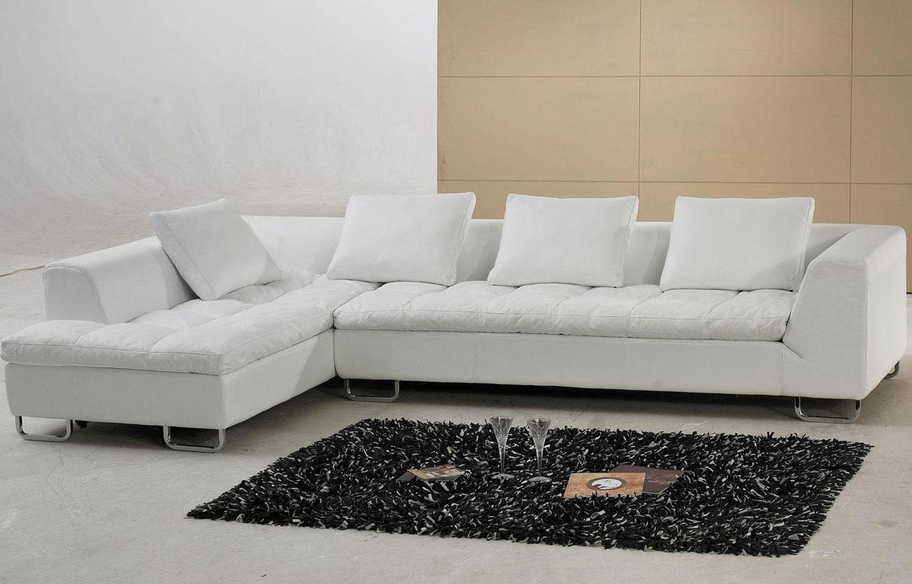 Image of: White Leather Sectional Sofa