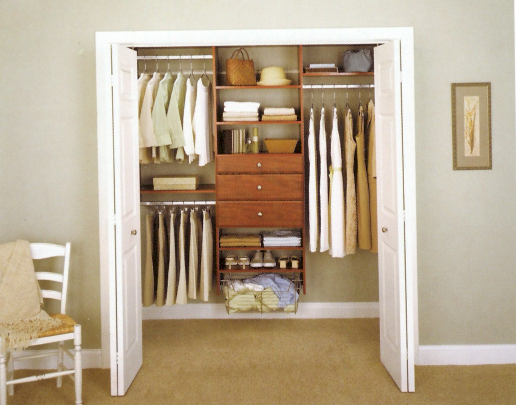 Image of: Wood closet organizers system