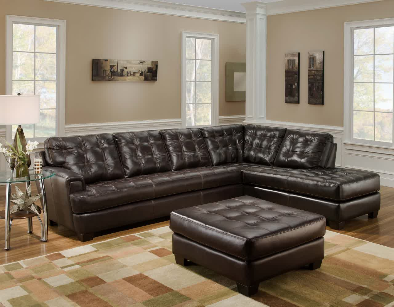 Image of: brown tufted leather sofa
