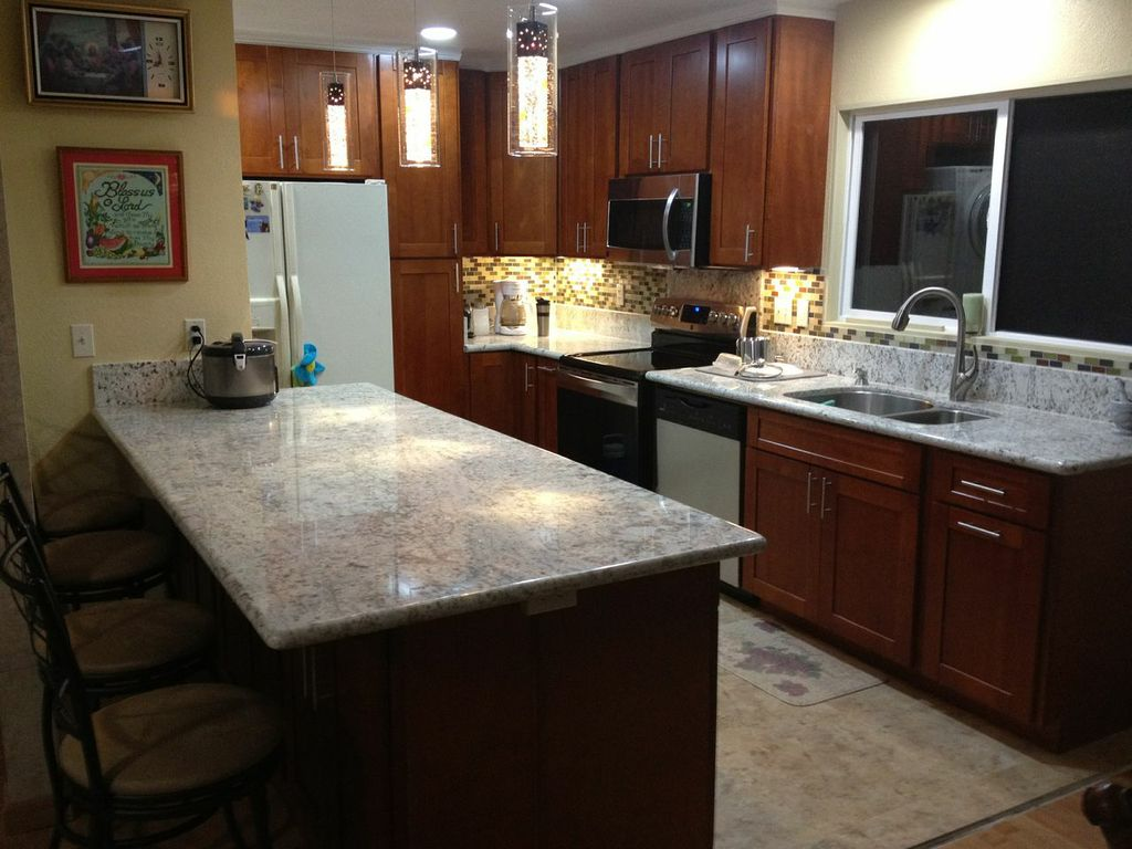 Image of: cherry cabinets maple glass
