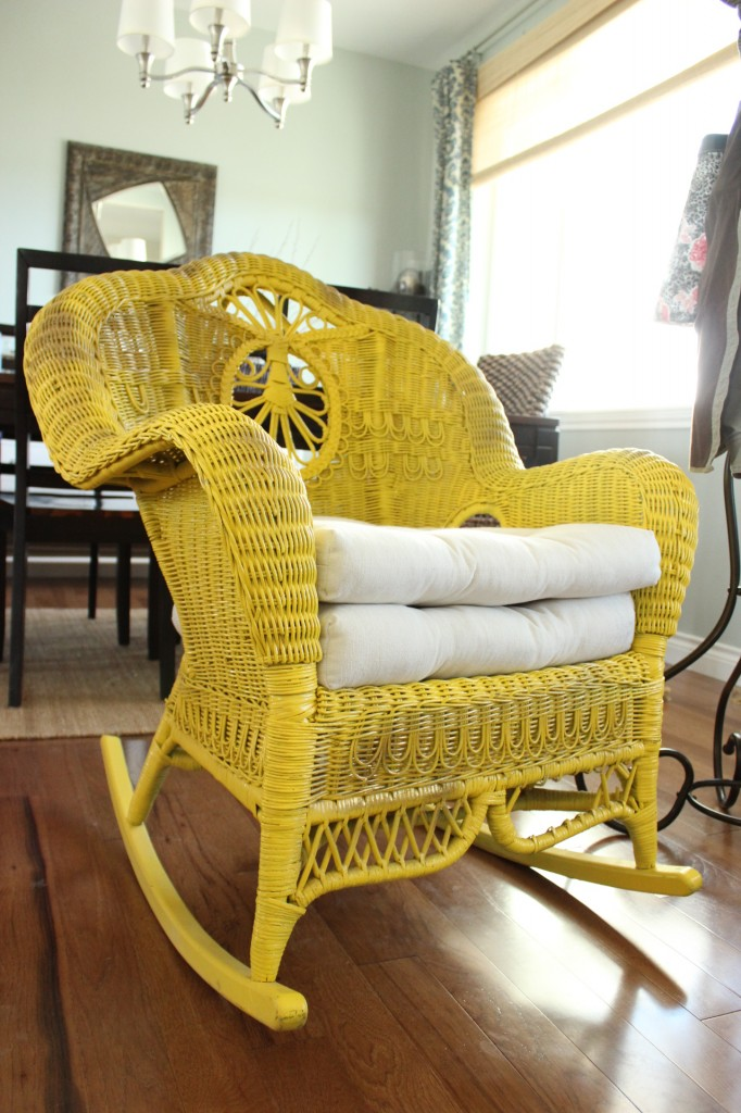 color wicker rocking chair