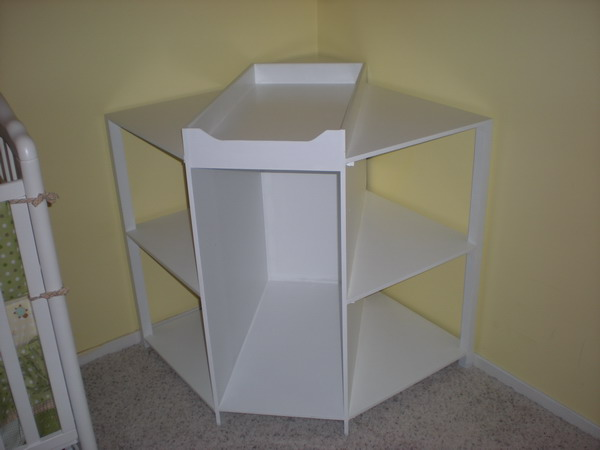corner changing table white color
