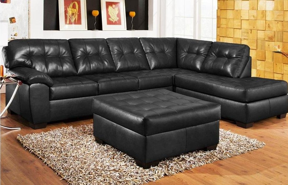 Image of: cozy tufted leather sofa