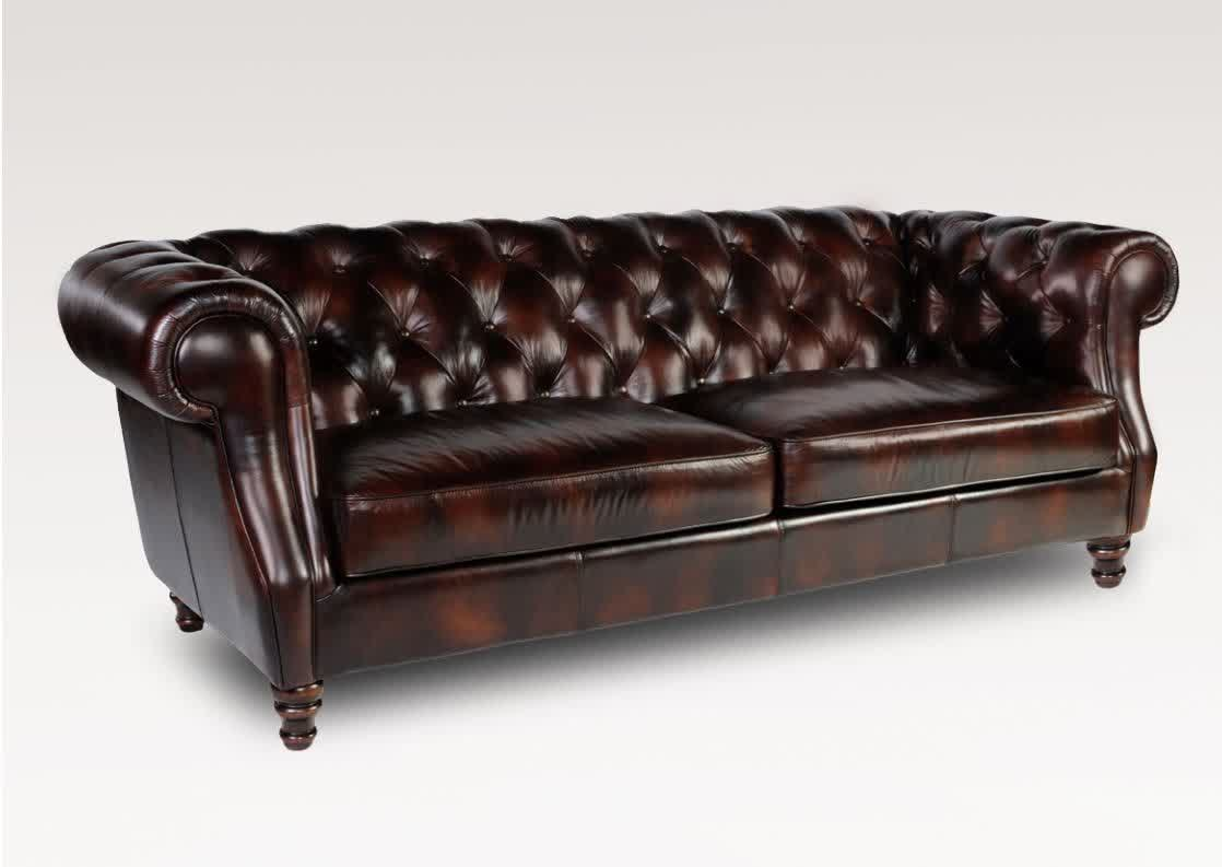Image of: dark brown tufted leather sofa