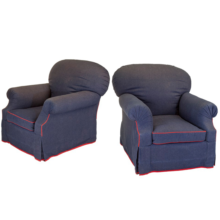 Picture of: denim overstuffed chairs