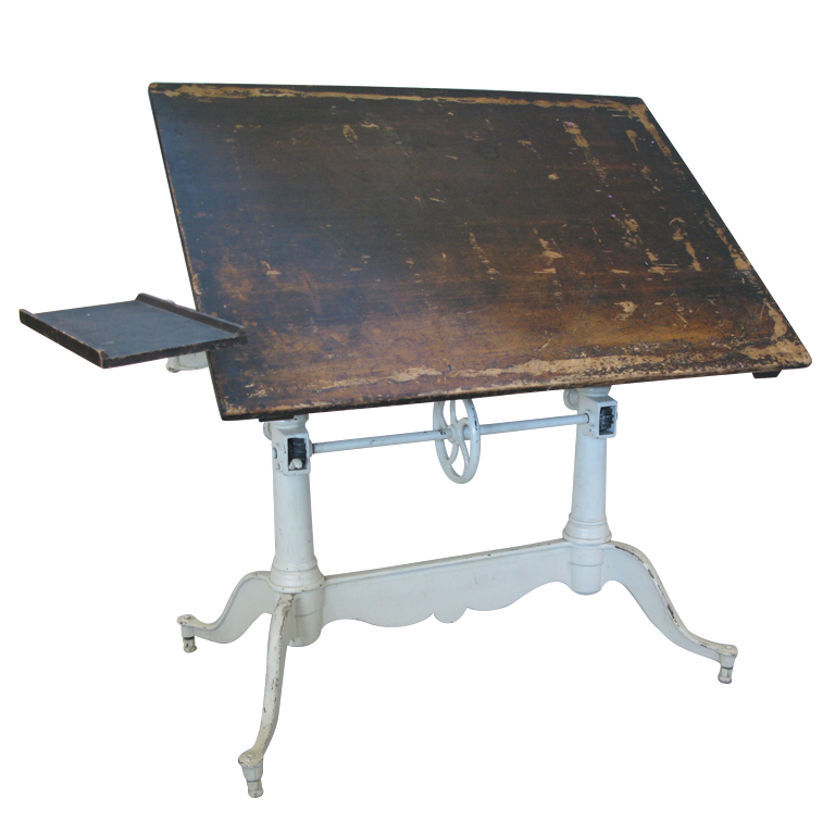 Picture of: double pedastal vintage drafting table