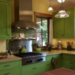 green rustic kitchen cabinets