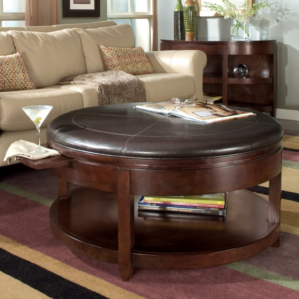 Picture of: leather round ottoman coffee table