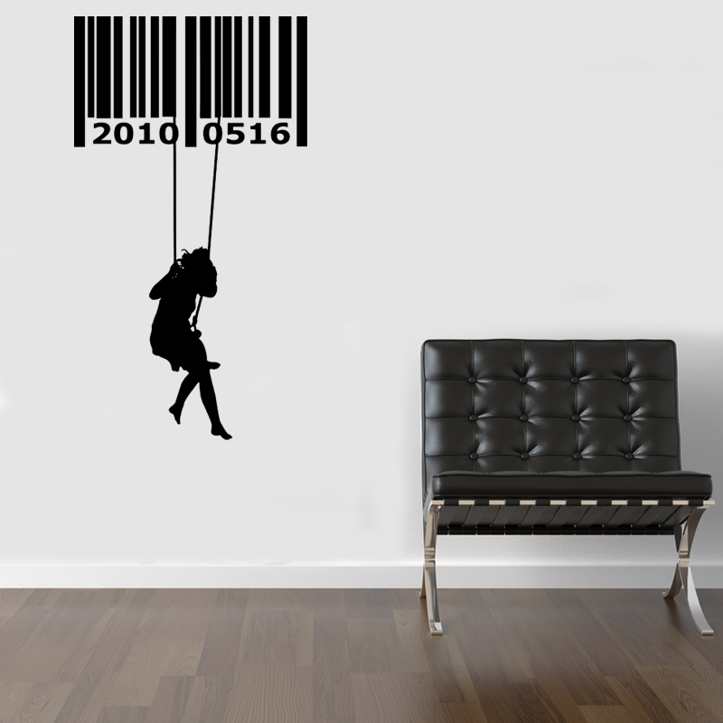 modern barcode swing wall decal