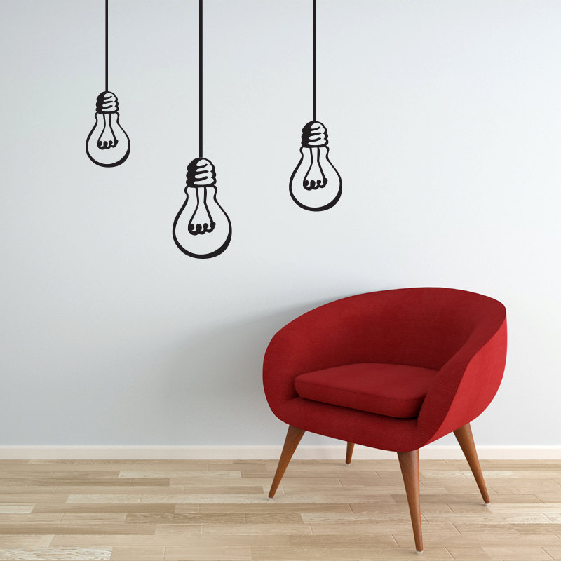 Image of: modern wall decals bulbs hanging lights