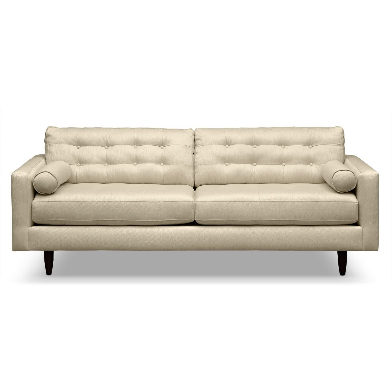Image of: modern white tufted leather sofa