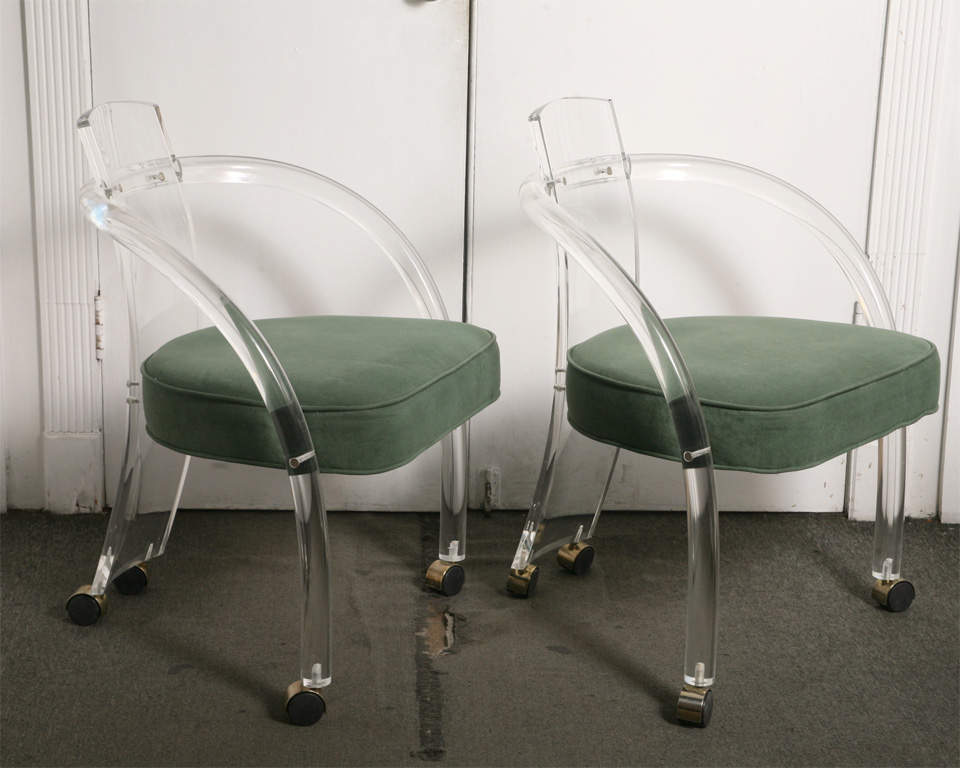 pair of lucite chairs