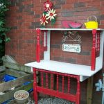 potting bench in red