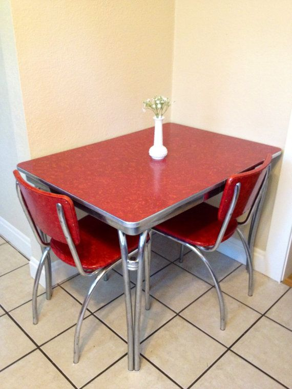 Image of: red Retro Kitchen Table