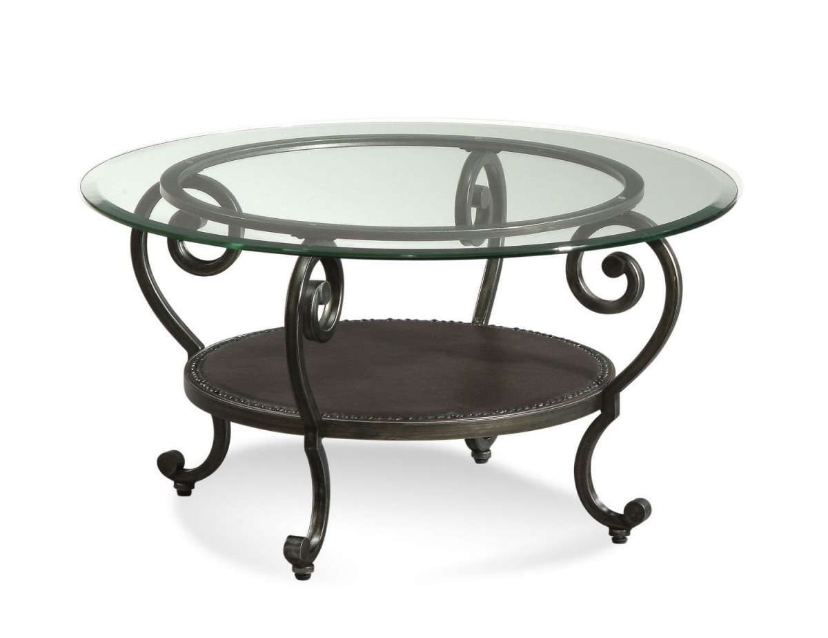 Image of: round glass coffee table metal base