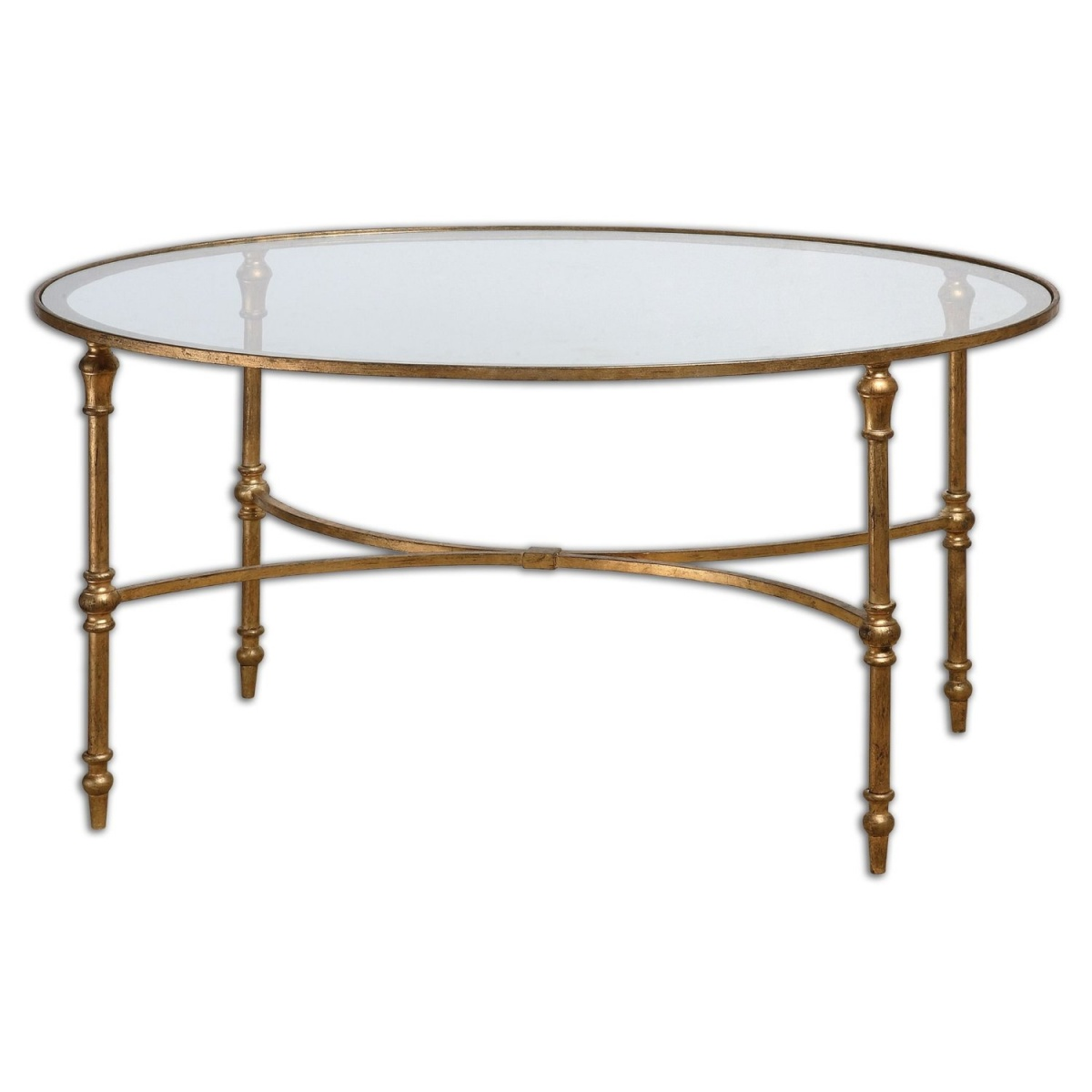 Image of: round gold glass coffee table