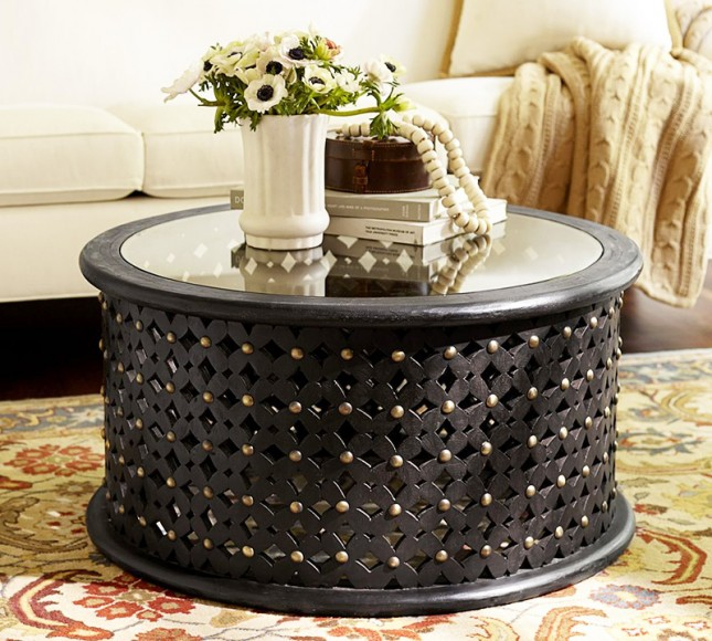 Picture of: round ottoman coffee table glass top