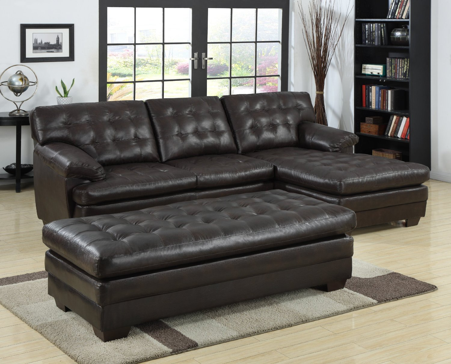 Image of: sectional sofa with chaise ounge brown leather
